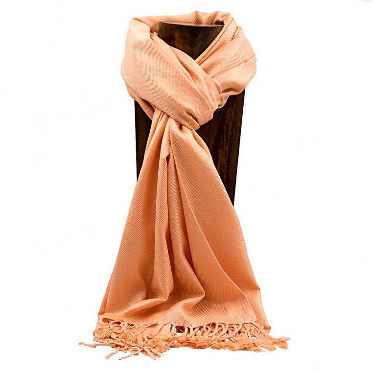 PASHMINA, SHAWL, SCARF PEACH SOLID COLOR