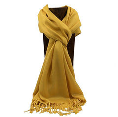 PASHMINA, SHAWL, SCARF MUSTARD SOLID COLOR