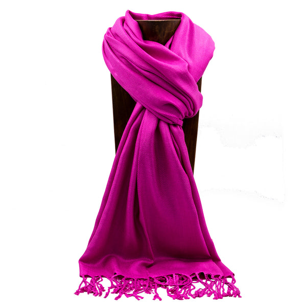 PASHMINA, SHAWL, SCARF FUCHSIA SOLID COLOR
