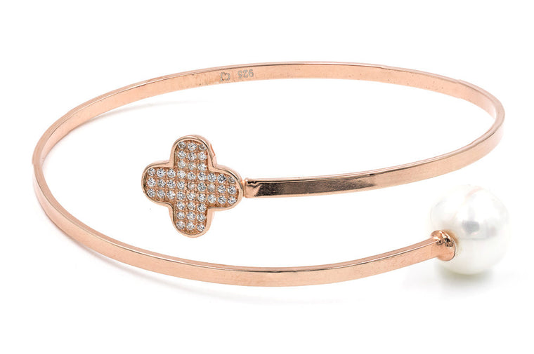 ZDB115-RG  STERLING SILVER 925 ROSE GOLD PLATED CLOVER FLOWER AND PEARL BANGLE
