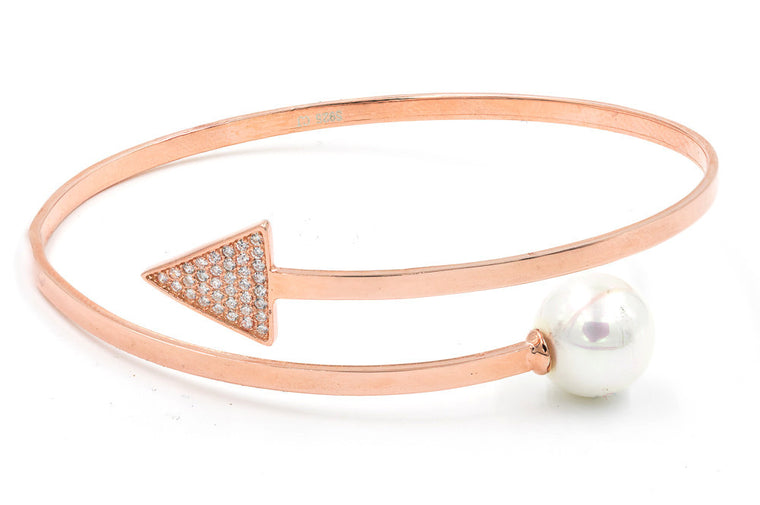 ZDB127-RG STERLING SILVER 925 ROSE GOLD PLATED FINISH ARROW AND PEARL BANGLE