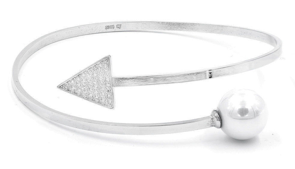 ZDB127  STERLING SILVER 925 RHODIUM PLATED FINISH ARROW AND PEARL BANGLE