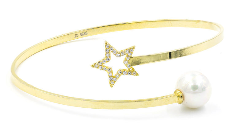 ZDB128-G STERLING SILVER 925 GOLD PLATED FINISH STAR AND PEARL BANGLE