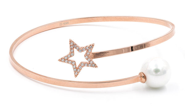 ZDB128-RG STERLING SILVER 925 ROSE GOLD PLATED FINISH STAR AND PEARL BANGLE