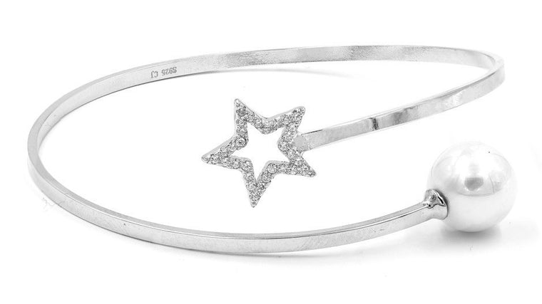 ZDB128 STERLING SILVER 925 RHODIUM PLATED FINISH STAR AND PEARL BANGLE