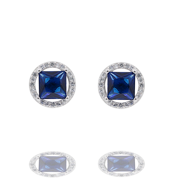 ZDE0101-B STERLING SILVER 925 RHODIUM PLATED FINISH SQUARE SHAPE CZ EARRINGS