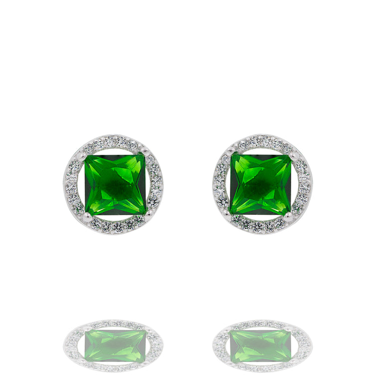 ZDE0101-G STERLING SILVER 925 RHODIUM PLATED FINISH SQUARE SHAPE CZ EARRINGS