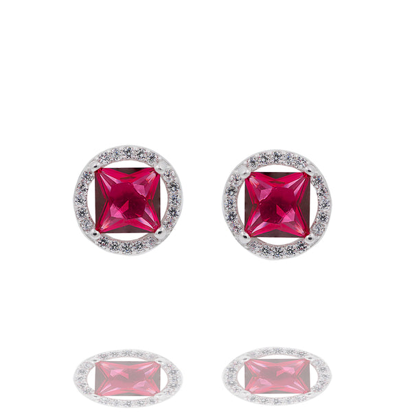 ZDE0101-R STERLING SILVER 925 RHODIUM PLATED FINISH SQUARE SHAPE CZ EARRINGS