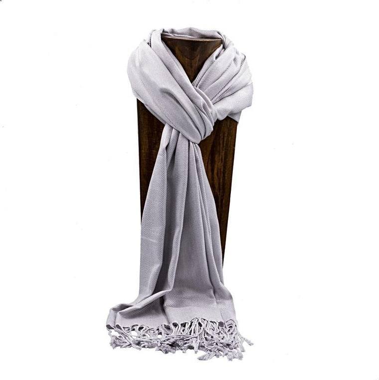 PASHMINA, SHAWL, SCARF SILVER SOLID COLOR