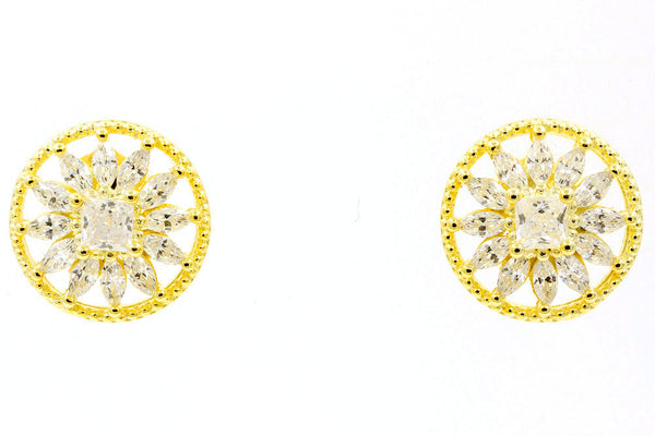 ZDE0305-G  STERLING SILVER 925 GOLD PLATED ROUND CZ POST EARRINGS