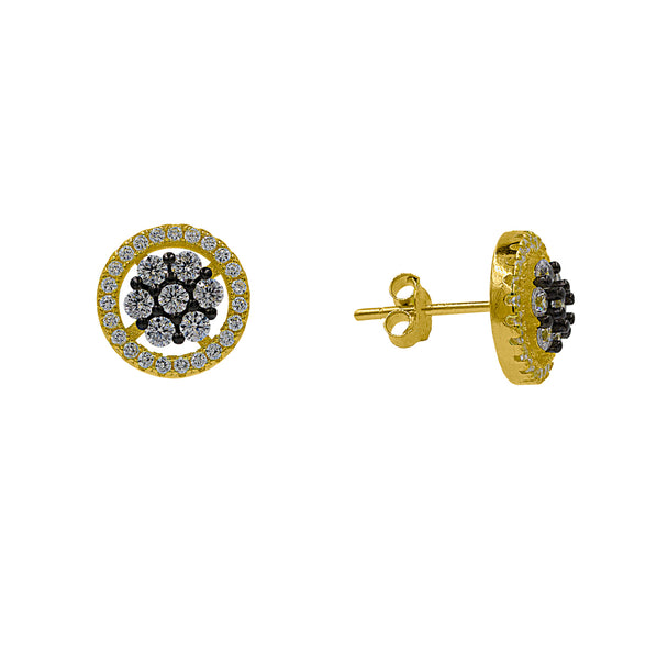 ZDE0414-GW  STERLING SILVER 925  GOLD PLATED STUD CZ EARRINGS