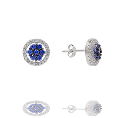 ZDE0414-RS  STERLING SILVER 925 RHODIUM PLATED STUD CZ EARRINGS