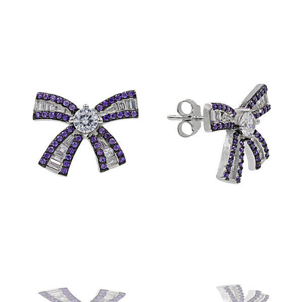 ZDE0787-A STERLING SILVER 925 RHODIUM PLATED BAGUETTE BOW EARRINGS