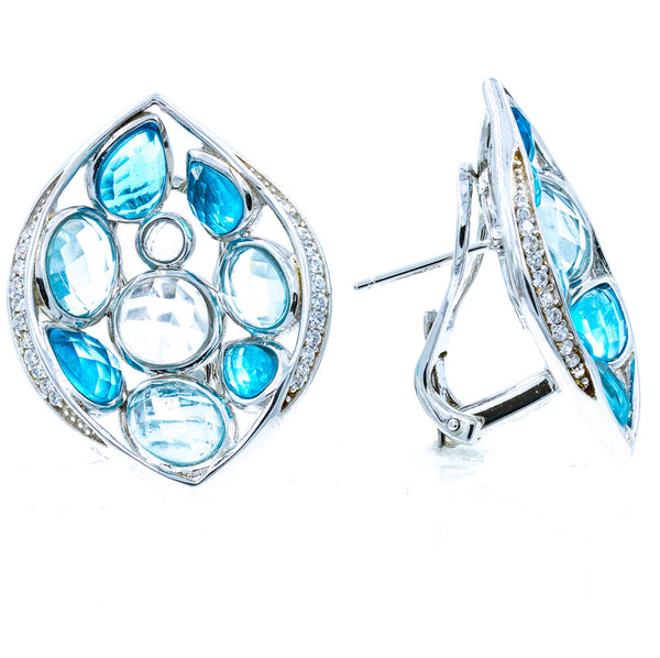 ZDE1024 STERLING SILVER 925 RHODIUM PLATED CZ EARRINGS