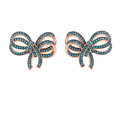 ZDE1106-RGT STERLING SILVER 925 ROSE GOLD BOW DESIGN STUD EARRINGS