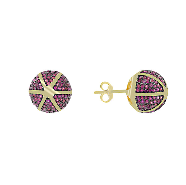 ZDE1167-GR STERLING SILVER 925 GOLD PLATED ROUND CZ POST EARRINGS