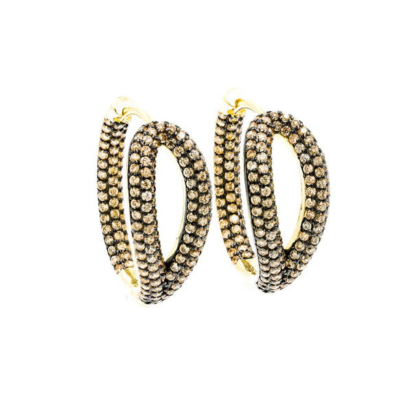 ZDE1267-GCH STERLING SILVER 925 GOLD PLATED HOOP EARRINGS