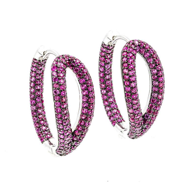 ZDE1267-R STERLING SILVER 925 RHODIUM PLATED RUBY COLOR HOOP EARRINGS