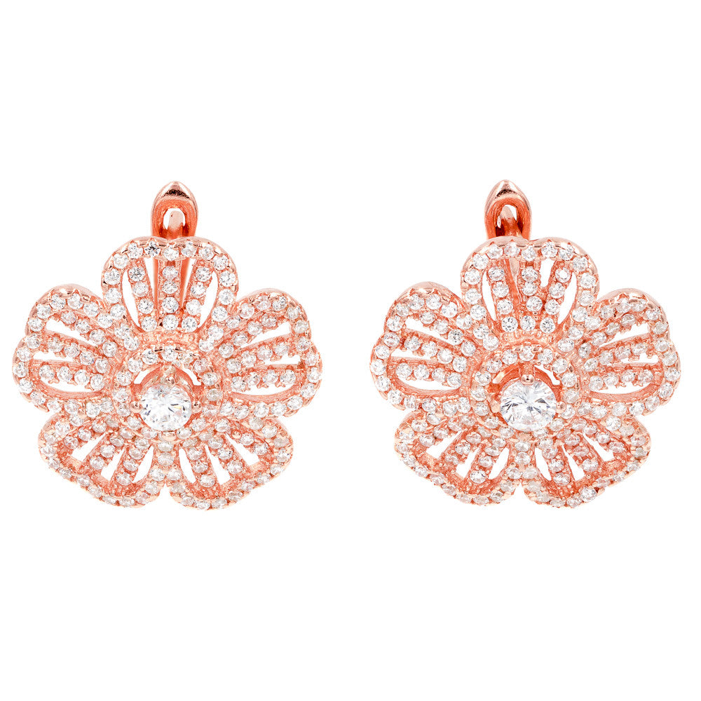 ZDE1459-R STERLING SILVER 925 ROSE GOLD PLATED FINISH FLOWER CLEAR WHITE CZ EARRINGS