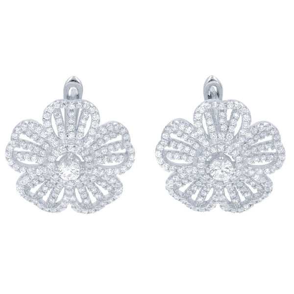 ZDE1459 STERLING SILVER 925 RHODIUM PLATED FINISH FLOWER CLEAR WHITE CZ EARRINGS