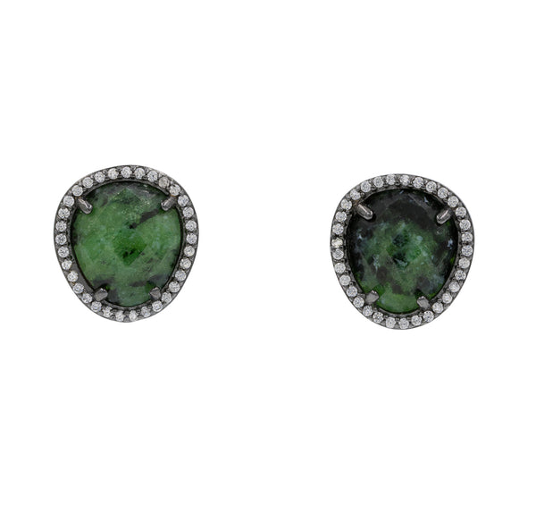 ZDE1523E-BL STERLING SILVER 925 BLACK RHODIUM PLATED FINISH EPIDOTE STUD EARRINGS