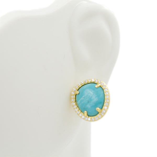 ZDE1523-G Sterling Silver 925 Gold Plated Prong Setting Turquoise Stud Earrings with Cz