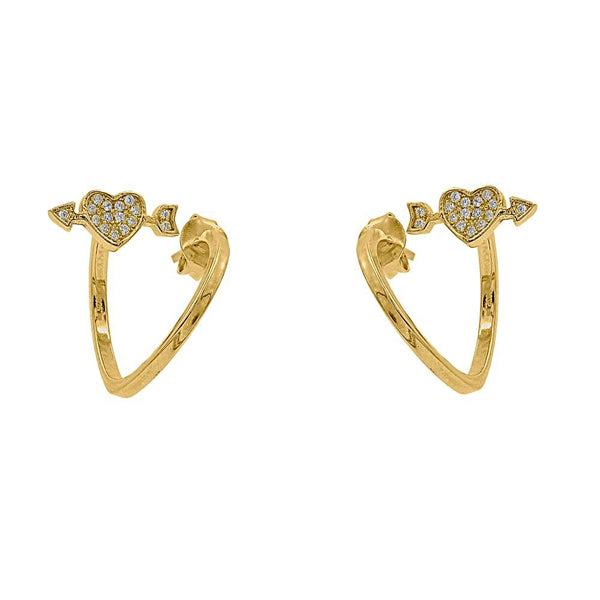 ZDE1579-G STERLING SILVER 925 GOLD PLATED FINISH CUBIC ZIRCONIA EARRINGS