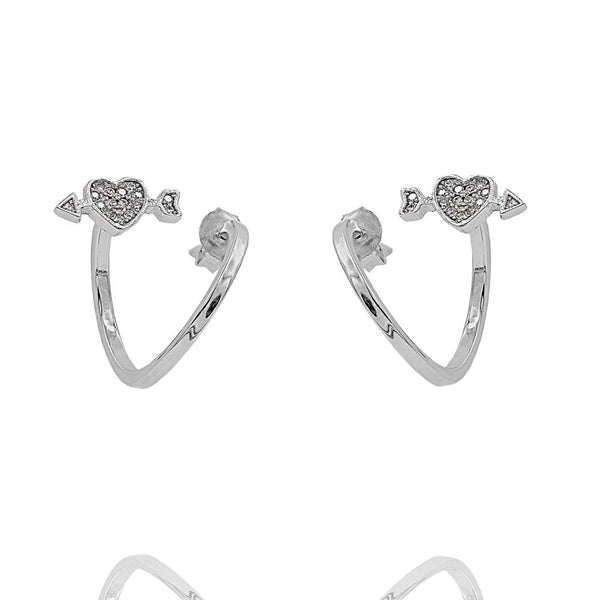 ZDE1579 STERLING SILVER 925 RHODIUM PLATED FINISH CUBIC ZIRCONIA EARRINGS