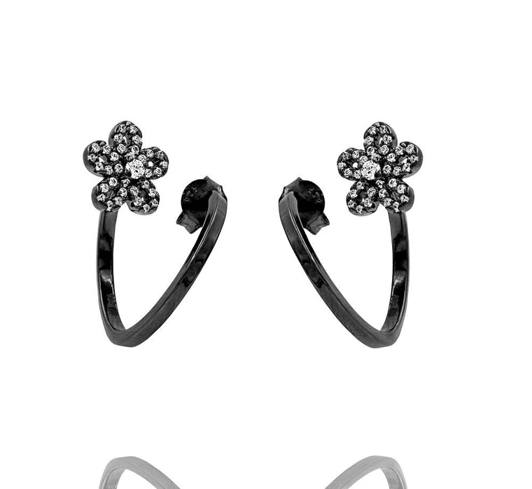 ZDE1583-B STERLING SILVER 925 BLACK RHODIUM PLATED FINISH CUBIC ZIRCONIA EARRINGS