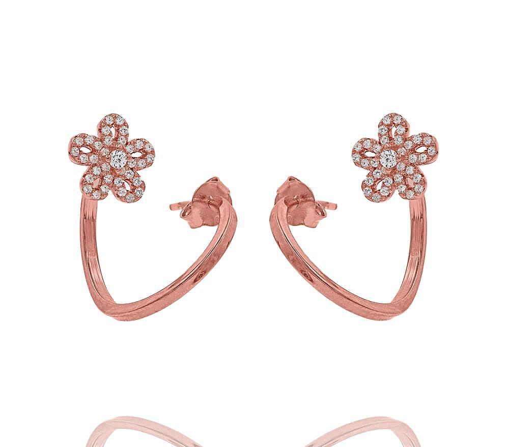 ZDE1583-R STERLING SILVER 925 ROSE GOLD PLATED FINISH CUBIC ZIRCONIA EARRINGS