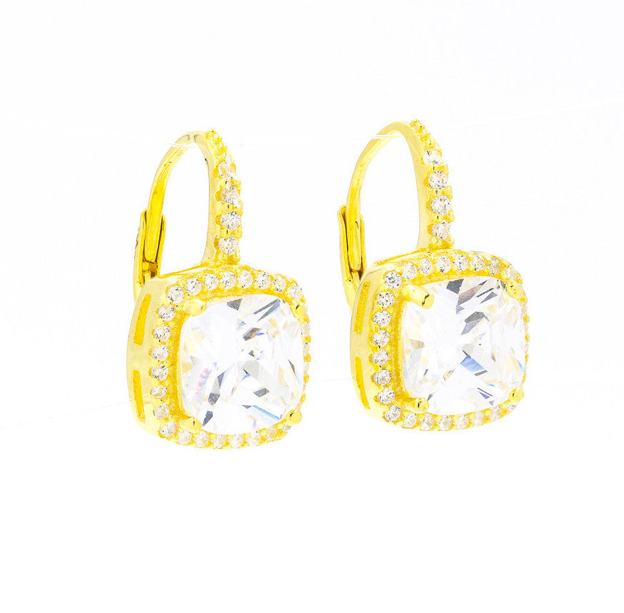 ZDE160816-G STERLING SILVER 925 GOLD PLATED SQUARE CZ EARRINGS
