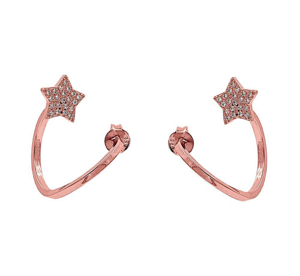 ZDE1645-R STERLING SILVER 925 ROSE GOLD PLATED FINISH CUBIC ZIRCONIA EARRINGS
