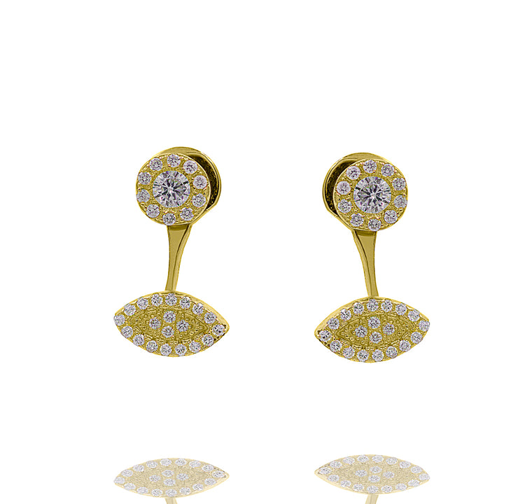 ZDE1698-G STERLING SILVER 925 GOLD PLATED FINISH CUBIC ZIRCONIA EARRINGS