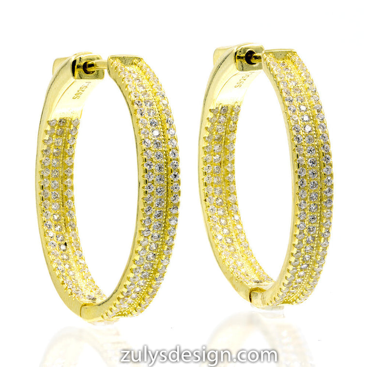 ER1699W-G STERLING SILVER 925 GOLD PLATED WHITE CZ HOOP EARRINGS 30 MM