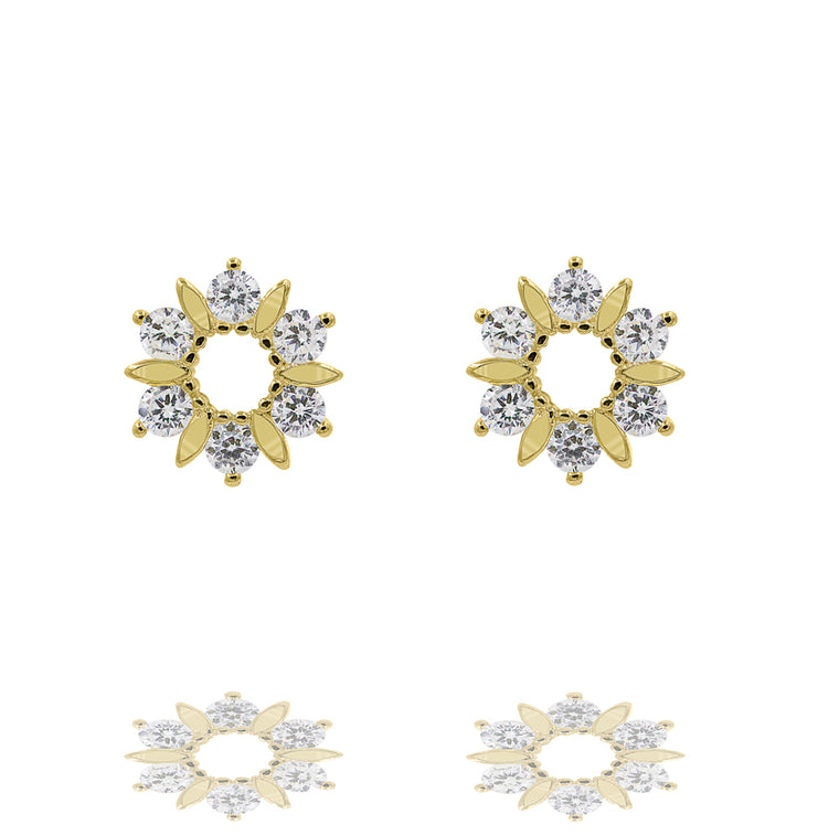 ZDE170-G STERLING SILVER 925 GOLD PLATED FINISH CUBIC ZIRCONIA EARRINGS
