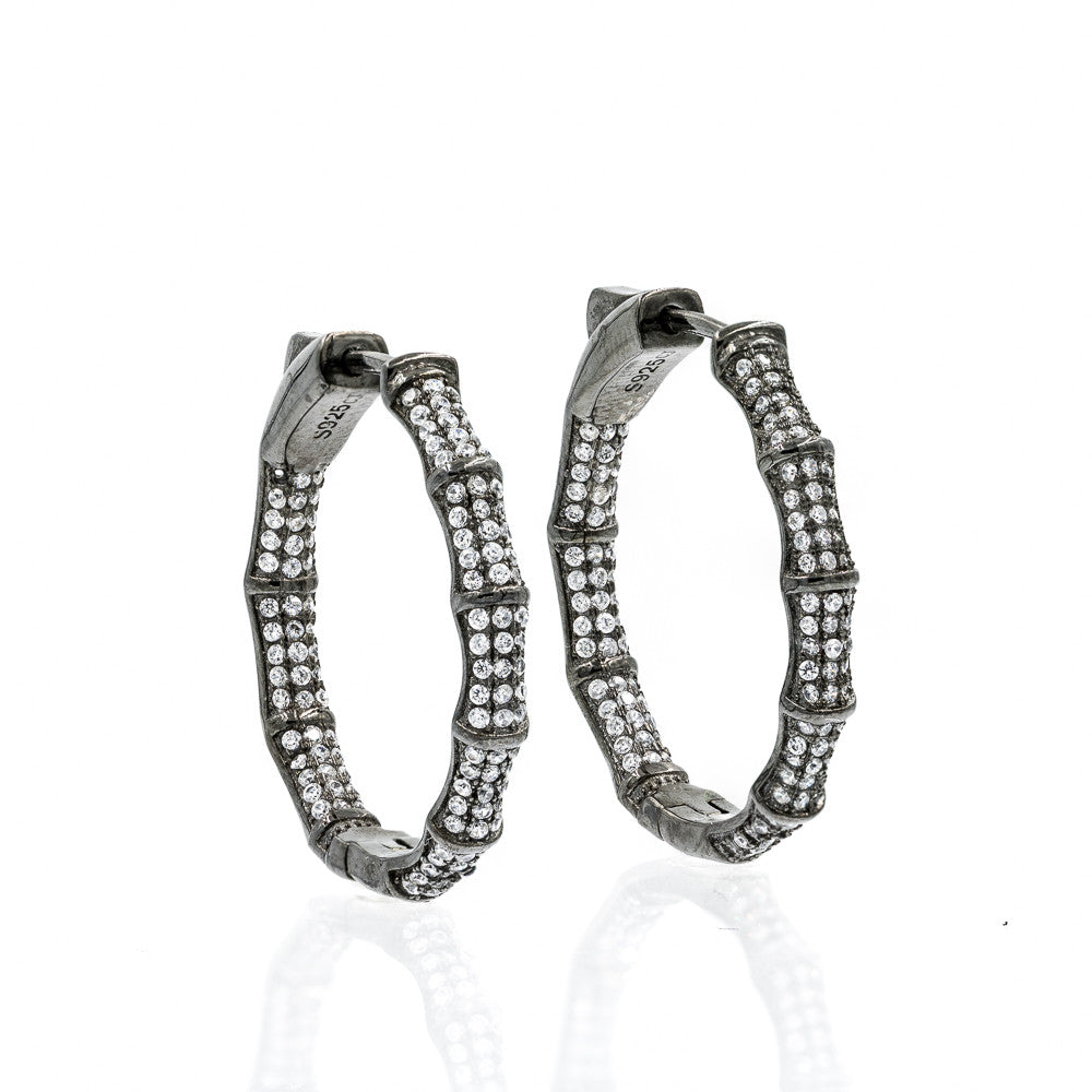 ZDE1700-B STERLING SILVER 925 BLACK RHODIUM PLATED FINISH BAMBOO HOOP EARRINGS 28MM