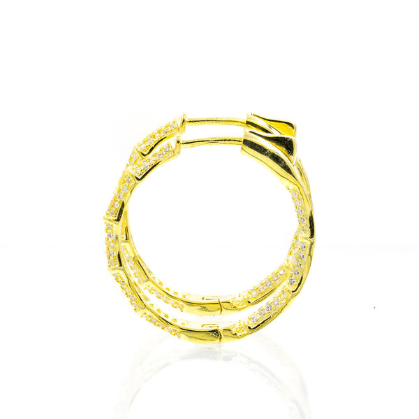 ZDE1700-G STERLING SILVER 925 GOLD PLATED BAMBOO DESIGN HOOP EARRINGS WITH CZ