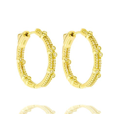 ZDE1713-G STERLING SILVER 925 GOLD PLATED FINISH WHITE CZ HOOP EARRINGS 28MM