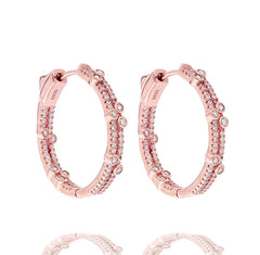 ZDE1713-RG STERLING SILVER 925 ROSE GOLD PLATED FINISH WHITE CZ HOOP EARRINGS 28MM