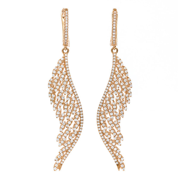 ZDE1874-RG STERLING SILVER 925 ROSE GOLD PLATED ELEGANT DROP CZ EARRINGS