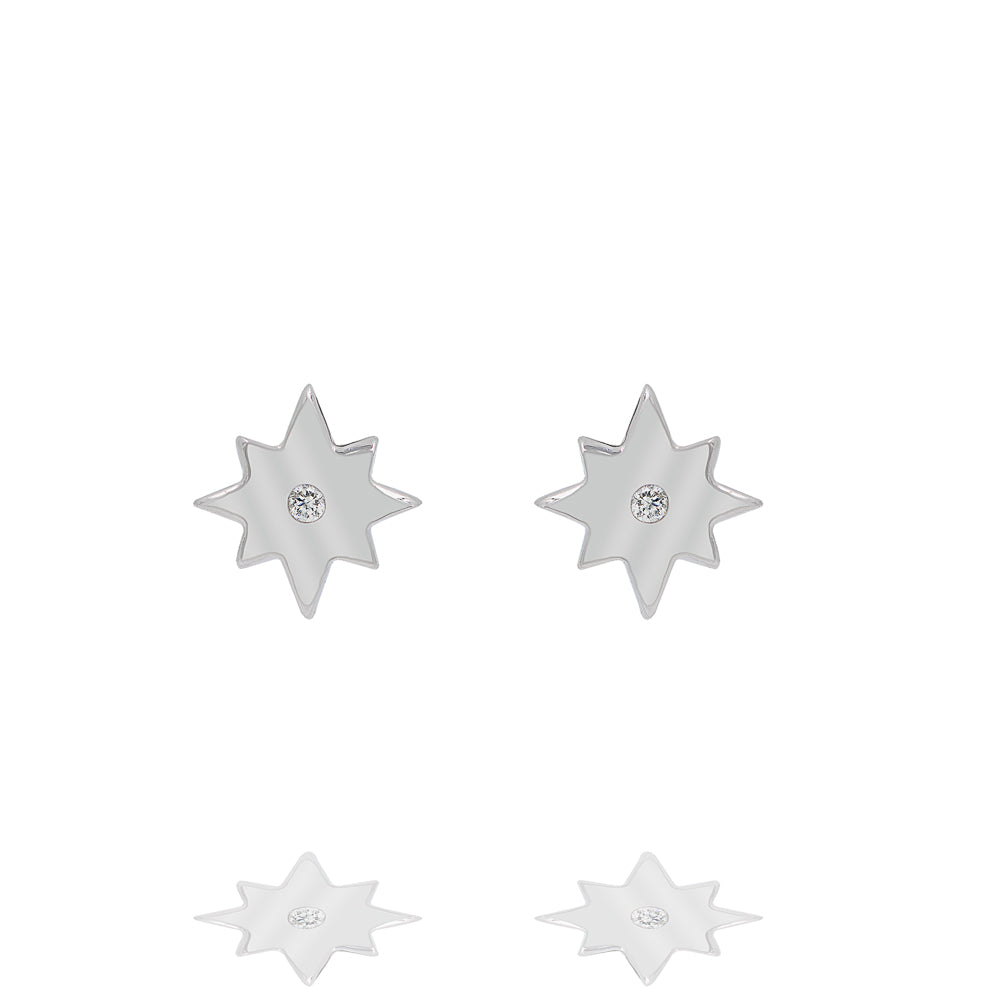 ZDE187 STERLING SILVER 925 RHODIUM PLATED FINISH STAR SHAPE CZ EARRINGS
