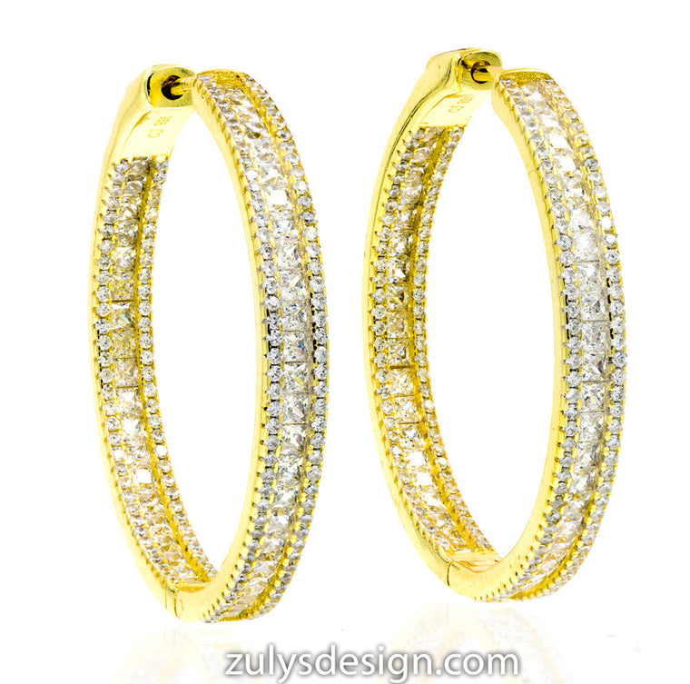 ZDE1871-G STERLING SILVER 925 GOLD PLATED WHITE CZ HOOP EARRINGS 38 MM