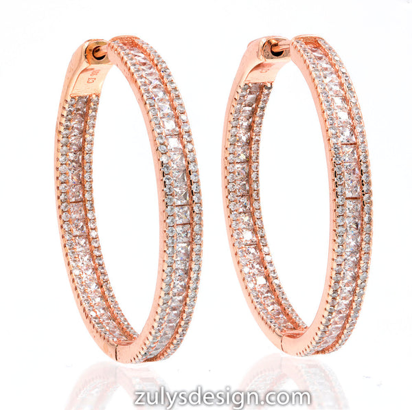 ZDE1871-RG STERLING SILVER 925 ROSE GOLD PLATED FINISH WHITE CZ HOOP EARRINGS 38 MM