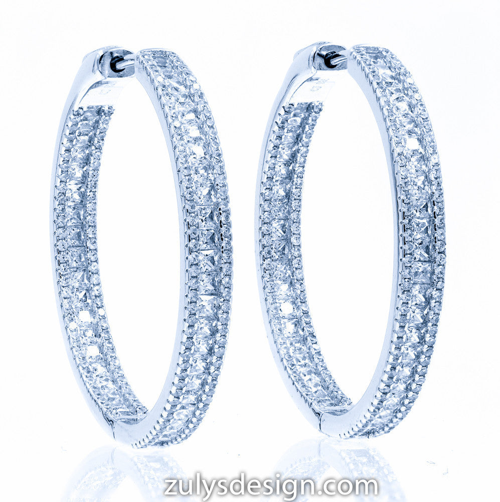 ZDE1871 STERLING SILVER 925 RHODIUM PLATED FINISH WHITE CZ HOOP EARRINGS 38 MM