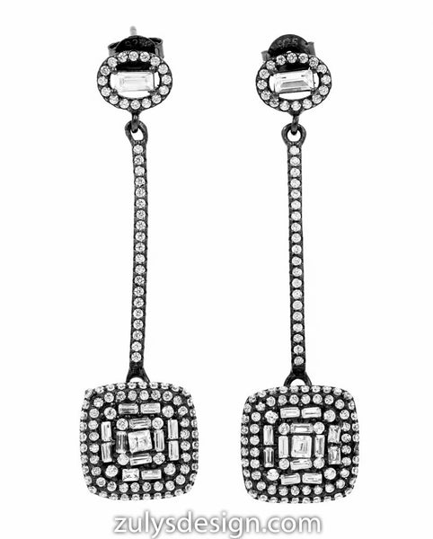 ER2106W-B STERLING SILVER 925 BLACK RHODIUM PLATED WHITE CZ DROP EARRINGS
