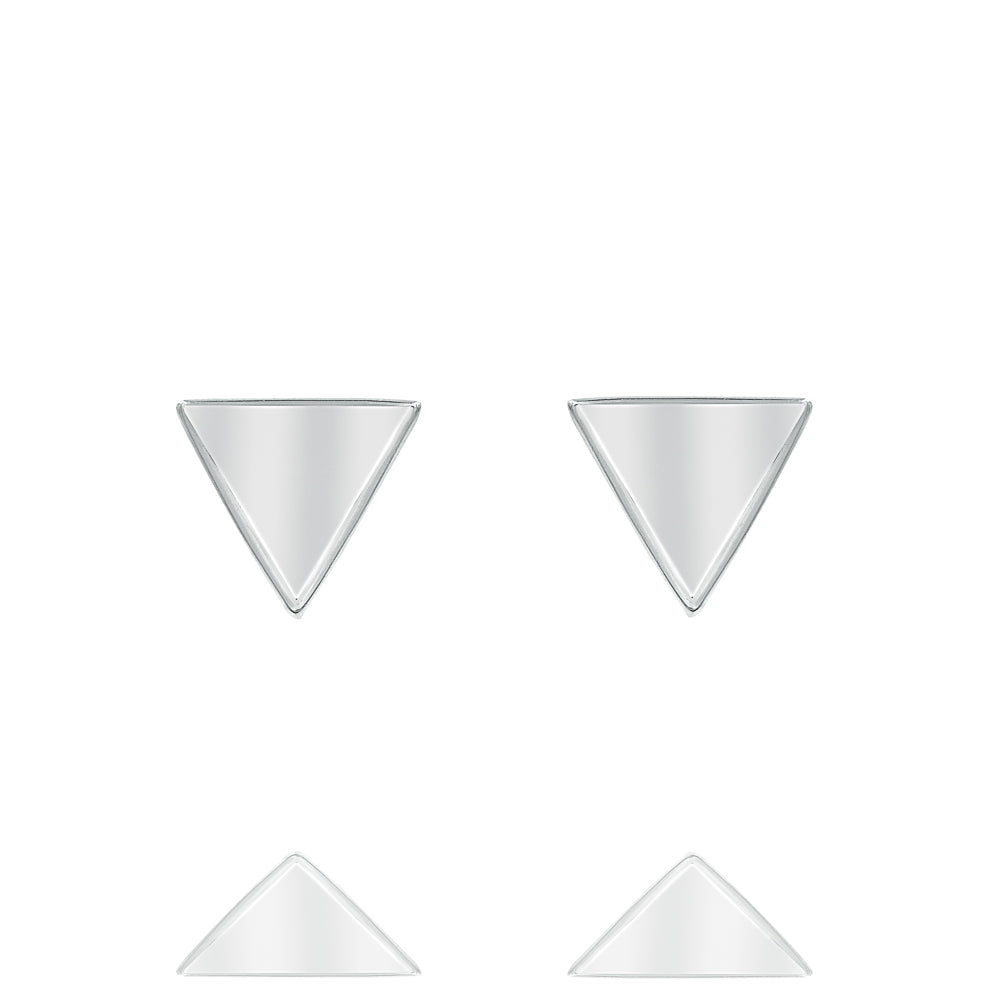 ZDE225 STERLING SILVER 925 RHODIUM PLATED FINISH PLAIN STUD EARRINGS