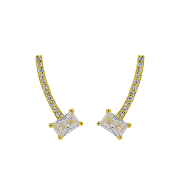 ZDE228-G STERLING SILVER 925 GOLD PLATED FINISH CZ EARRINGS