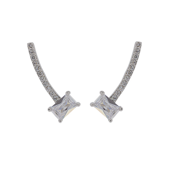 ZDE228 STERLING SILVER 925 RHODIUM PLATED FINISH CZ EARRINGS