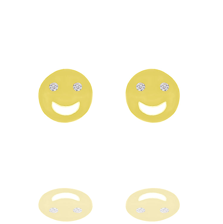 ZDE231 STERLING SILVER 925 GOLD PLATED FINISH HAPPY FACE STUD EARRINGS