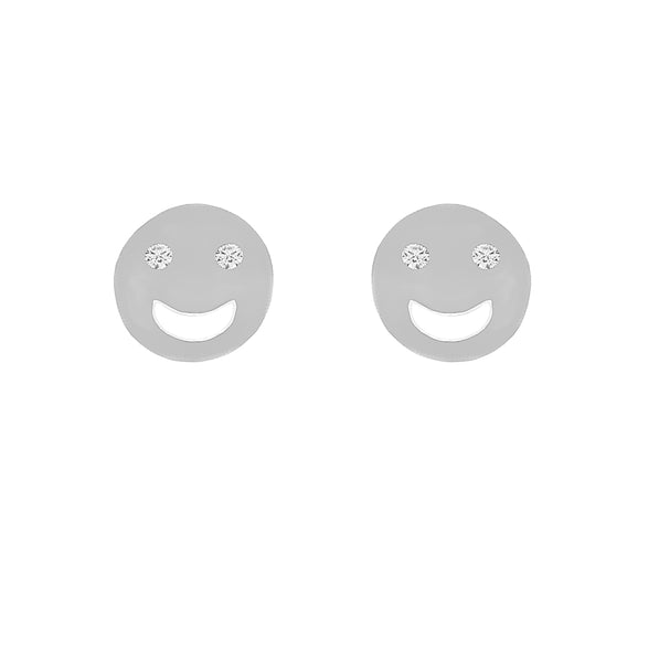 ZDE231 STERLING SILVER 925 RHODIUM PLATED FINISH HAPPY FACE  STUD EARRINGS